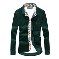 Plus size M-3XL 4 Color New 2015 Men's casual shirts,men corduroy shirt long sleeve thermal winter thickening male velvet shirts