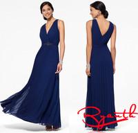 Vestido Chiffon Festa Woman Dress Party Elegant Beaded Royal Blue Long Prom Party Dress Sexy Women Formal Dresses RBE011