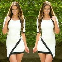 2015 Summer Women Casual Dress Bandage Bodycon Half Sleeve Ladies Asymmetric Patchwork  Work Wear Dress vestidos femininos Hot