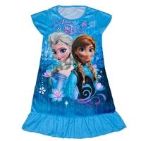 Summer Baby Girl Dresses Frozen Anna Printed Flouncing Vestido Elsa Frozen Infantil Costume Vestido Princesa Aged 4-7
