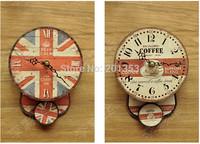 The British flag mini wall clock Mini wall clock wooden coffee time Wooden wall clock random shipment
