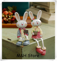 2 pcs home decoration rural resin crafts kawaii rabbit couple beautiful figurine for wedding birthday gift