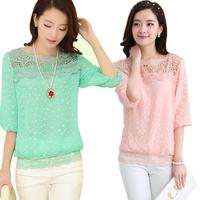 New 2015 Spring Lace Chiffon Blouse Korean Version Was Thin Big Yards Female Crochet Round Neck Chiffon Shirt Casual / Vestidos