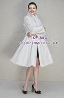 BG80198  2014 Fashionable  Genuine Full Pelt Mink Fur of Women's Long Coat Winter Full Sleeve Outwear