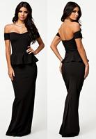 long elegant prom dresses Black short Sleeve Peplum Maxi Dress With Drop shoulder plus size evening vestidos de festa LC6244