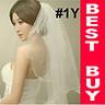 1T Ivory White Elbow Length Pearl Beaded Bride Bridal Wedding Dress Veil #1Y