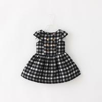 Dress For Girls Woolen Plaid  Autumn Winter Fashion New Button Decoration Sleeveless Zipper Style Children Clothing 4pcs/ LOT