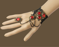 LH003 free shipping Retail  women New retro Gothic black  lace hand chain bracelet Jewelry  gift