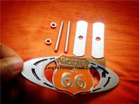 5sets/lot automobile front hood grill badge car grille US 66 ROUTE logo emblem with screws