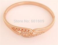 Free Shipping! Wholesale 1pc 14K Rose Gold Filled around Cubic Zirconia retro women's Closed Bangle Bracelet TG038