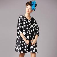 S-6XL 2015 Spring Autumn Big Size XXXXXL Women Loose Half Sleeve Black White Color Block Coat Bow Vintage Polka Dot Trench