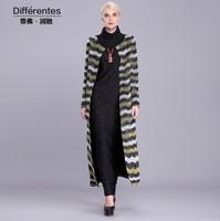 2015 spring fashion women's long coat O-neck colorful stripe outwear plus size ladies' windbreaker overcoat