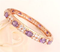 Free Shipping charming 1pc 14K Rose Gold Filled colorful Cubic Zirconia pretty  women's Closed Bangle Bracelet TG041