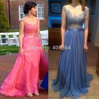 Multi Color Chiffon Cap Sleeves Beaded Appliques Long Evening Dress Prom Dresses 2015 Hot Vestido Longo