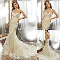Custom Made Open Back Design Sleeveless Fashionable Mermaid Lace Wedding Dress Vestidos De Noivas 2015 Sexy