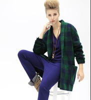 new winter classic plaid long section of a buckle woolen coat female