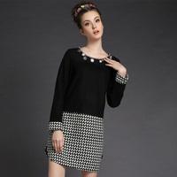 Fashion beaded long-sleeved round neck stitching black bottoming dress big size Houndstooth dress xl,xxl,xxxl,xxxxl,xxxxxl