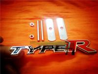 5sets/lot automobile front hood grill badge car grille balck type-r logo emblem with screws