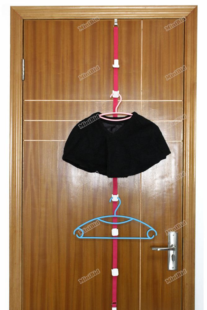 minibid Best choice Over Door Adjustable Straps Hanger Hat Bag Clothes Rack Holder Organizer 8 Hooks Hot promotion!(China (Mainland))