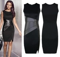 326 star slim ol genuine leather patchwork casual pencil dress sexy sleeveless bodycon