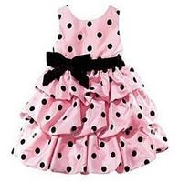 Retail new 2015 girls dot dress fashion girls party dresses red and pink girls princess dress free shipping