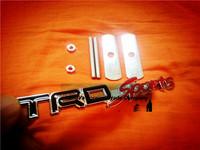5sets/lot automobile front hood grill badge car grille balck TRD-SPORTS logo emblem with screws