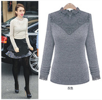 2014 Autumn Winter New European American Style Women Casual Sweater Lace Patchwork O-neck Pullover Knitted Blouse