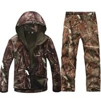 TAD Softshell Outdoors Hoody Jacket Set Men Waterproof Sport Camouflage Hunting Clothing Set Pants+ Military Jacket Hoodies