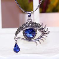 Korean fashion new blue eyes tears tears Eye Pendant Long sweater chain crystal necklace