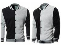 New 2014 Mens Fashion Sportswear Hit Color Stitching Striped Collar Baseball Sweatshirt Casual Jacket Coat Black&Gray Hot Sale