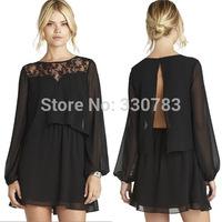 2015 new year dress women High quality Black Chiffon Mini Dress fashion ladies dresses vestido sexy cheap clothes china