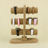 Wholesale High Quality Brown Ice Velvet Bangle Watch Bracelet Display Stand Holder T-Bar 3 Tiers