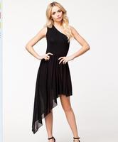 New oblique chiffon strapless asymmetrical sleeveless sexy dress