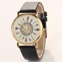 2015 New fashion Classic PU Leather Woman girl Analog Quartz Wrist Watches Casual Watches Men women Electronic XR485