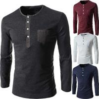 2014 NEW fashion Korean Men's spring Slim round neck long-sleeved T-shirts autumn European American man cotton Tops Tees