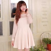 2015 Women's New Brocade A-line Dress Round Collar Ladies Cute Slim Dress Free Shipping W23155