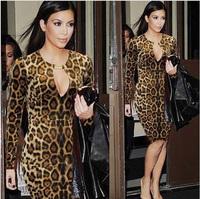 XXL Big Size Women Leopard Print Evening Dress  Long Sleeve Bodycon Celebrity Dresses