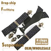 BD4W03, 3.5CM, 4clasp casual male suspenders 2015, elastic plaid tape , high quality casual men suspender gift 110cm length
