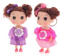 Ddung pendant doll 12pcs 12cm exquisite Chiffon dot skirt Princess cake girl cloth bag key chain wedding gift prize wholesale