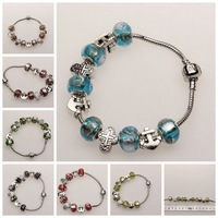 Hot !1pc DIY Jewelry for Women Fashion European 6-color  Murano Glass Beads Antique silver Charm Bracelets Bangles free shipping