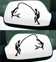 Free shipping (4pcs/lot) funny Go fishing sticker for car Rear view mirror side door mirror sticker car styling