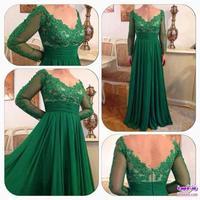 2015 Vestido De Renda Long Sleeves Formal Evening Dress Deep V Neck Long Green Chiffon Appliqued Vestido De Festa EV0196