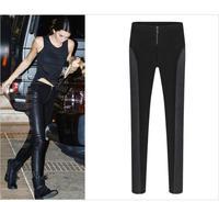 2015 winter/spring new women leggings S-2XL slim PU patchwork plus size women pencil pants full lenth casual pants G244Y