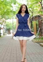 New 2014 Hot Europe Women Dress Cute Chiffon V Neck Short Sleeve Sashes Natural Color Princess Style Fashion Fresh Dress