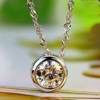 Women's 925 Silver Round White Sapphire Purple Amethyst Pendant CZ Crystal Linking Chain Necklace Original Brand Jewelry