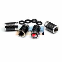 4caps/lot automobile wheel tire tyre valve cover carbon fiber caps with sline car logo badge brands