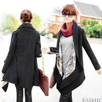 2012 Winter new arrival Women's Korea Grace Woolen Coat Long Sleeve Cape Clock Jacket Black 3447