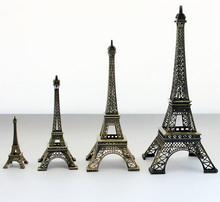 10 CM Hot venda Bronze Tone Paris torre Eiffel estátua estatueta Antique Home decorativa de Metal francês do Vintage artesanato modelo(China (Mainland))
