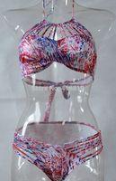 2015 new printing multi-rope sexy bikini swimwear halter rope chest free shipping