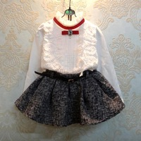 2015 Spring Girls Clothing Sets Fashion White Baby Girls Blouse&Skirt With Belt Suit Retail 3-8 Years Kids Clothes C25